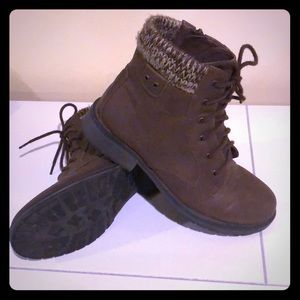 Girls Brown Leather lace-up ankle booties